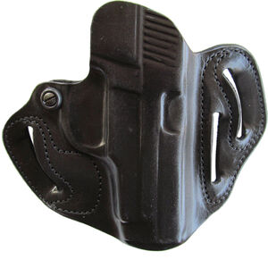 """DeSantis Speed Scabbard SIG Sauer P220/226 OWB 1.75"""" Belt Right Hand Leather Black"""