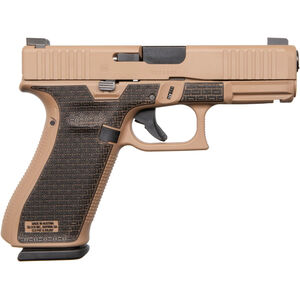 "GLOCK 45 9mm Luger Compact Semi Auto Pistol 4.02"" Barrel 17 Rounds Night Sights Apollo Custom Basketweave Stipple Polymer Frame Dark Earth Cerakote Finish"