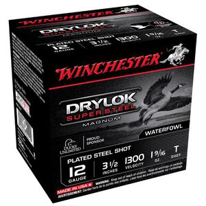 "Winchester Drylok Super Steel 12 Gauge Ammunition 25 Rounds 3-1/2"" Shell T  Steel Shot 1-9/16 oz 1300 fps"