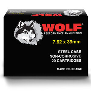 Wolf Performance 7.62x39 Ammunition 123 Grain Bi-Metal Jacketed HP Steel Case 2362 fps