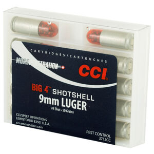 CCI Big 4 Shotshell 9mm Luger Ammunition 10 Rounds #4 Lead Shot 3712CC