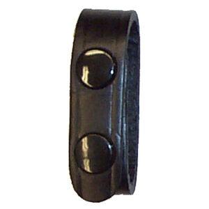 "Stallion Leather 3/4"" Wide Belt Keeper Brass Snaps Basket Weaver Finish Black"