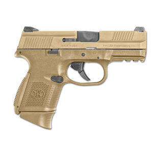 """FN-USA FNS-9C Compact FDE Semi Auto Pistol 9mm Luger 3.6"""" Barrel 10 Rounds Fixed 3 Dot Sights No Manual Safety Polymer Frame Flat Dark Earth Finish"""