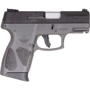 "Taurus G2C 9mm Luger Compact Semi Auto Pistol 3.20"" Barrel 12 Rounds Single Action with Restrike 3-Dot Sights Thumb Safety Gray Polymer Frame Black Finish"