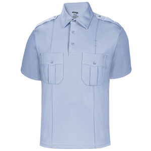 Elbeco UFX Uniform Polo Men's Short Sleeve Polo Large 100% Polyester Swiss Pique Knit Light Blue