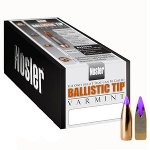 "Nosler 6mm Caliber (.243"" Diameter) 80 Grain Spitzer Purple Ballistic Tip Varmint Bullet 100 Count 24080"