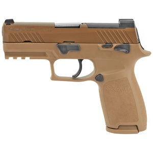 """SIG Sauer P320-M18 Carry Semi Auto Pistol 9mm Luger 3.9"""" Barrel 17/21 Rounds SIGLITE Sights Modular Stainless Steel/Polymer Grip Frame Coyote Tan Finish"""
