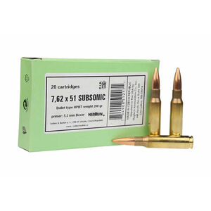 Sellier & Bellot .308 Winchester Ammunition 20 Rounds Subsonic BTHP 200 Grains SB308SUBA