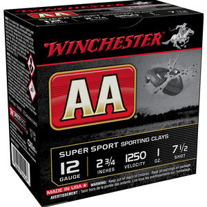 "Winchester USA AA Super Sport 12 Gauge Ammunition 2-3/4"" #7.5 Lead Shot 1 oz 1250 fps"