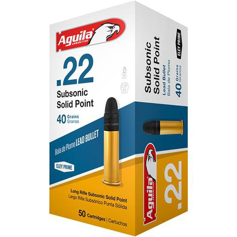 Aguila Subsonic  22 Long Rifle Ammunition 50 Rounds 40 Grain Lead Solid  Point 1025fps