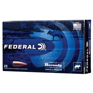 Federal Varmint and Predator .223 Rem Ammunition 20 Rounds 53 Grain Hornady V-Max 3400fps