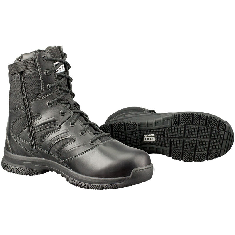"""Original S.W.A.T. Force 8"""" Side-Zip Men's Boot Size 10.5 Regular Thermoplastic Heel and Toe Non-Marking Sole Leather/Nylon Black 152001-105"""