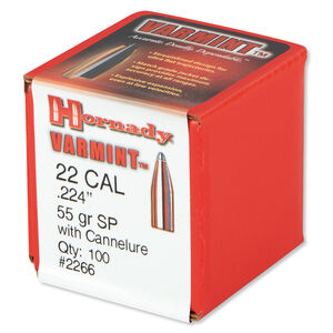 Hornady .22 .224 Bullet, 100 Projectiles, Soft Point, 55 Grains
