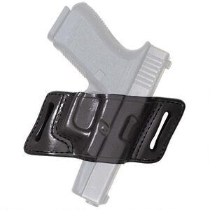 Aker Leather 132A White Lightning Strapless Slide Holster Beretta 92F Open Top Belt Holster Right Hand Leather Plain Black