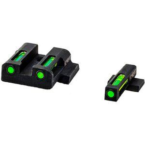 HiViz LITEWAVE H3 S&W M&P Shield Green Tritium Fiber Optic Night Sight Set Steel Black