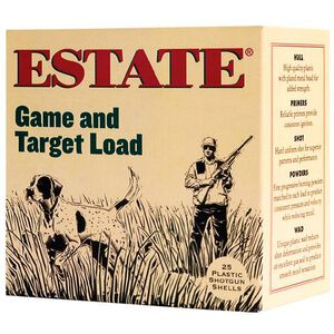 """Estate Cartridge Game and Target 20 Gauge #8 Lead Shot, 2-3/4"""", 7/8 Ounce, 1210 fps 250 Round Case"""