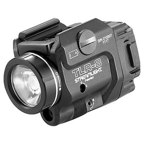 Streamlight TLR-8 Compact Weapon Light/Laser Combo 500 Lumen LED White Light/Red Laser CR123A Battery Aluminum Matte Black