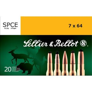 Sellier & Bellot 7x64 Brenneke Ammunition 20 Rounds 173 Grain Soft Point Cutting Edge Projectile 2,526fps