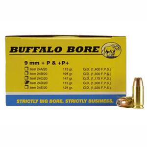 Buffalo Bore 9mm Luger +P Ammunition 20 Rounds JHP 115 Grains 24D/20