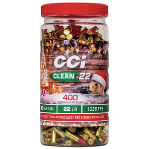 CCI Clean-22 Christmas Pack .22 LR Ammunition 400 Round Bottle 40 Grain Red and Green Poly Coated LRN 1235 fps
