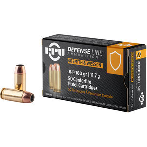 Prvi Partizan PPU Defense .40 S&W Ammunition 50 Rounds 180 Grain JHP 967fps