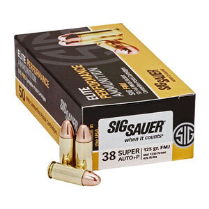 SIG Sauer .38 Super +P Elite Ammunition 50 Rounds FMJ 125 Grains E38SUB50