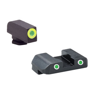 AmeriGlo Pro-GLO Combination Sight Set GLOCK 17/19/22/23/24/26/27/33/34/35/37/38/39 Green Outline/Green Tritium Front Green Tritium 2 Dot White Out Line Rear Night Sights Steel GL-243