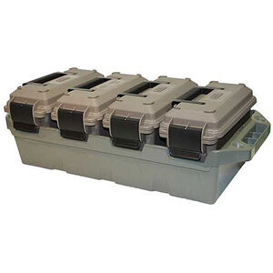 MTM 4-Can Ammo Crate with Four 30 Caliber Ammo Cans Polymer Gray