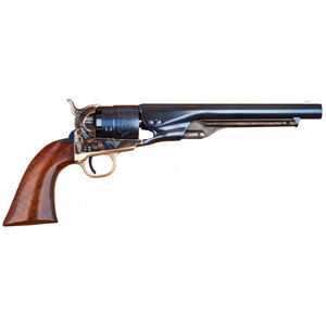 """Cimarron Firearms 1860 Army Cut for Stock Single Action Black Powder Revolver .44 Caliber 8"""" Round Barrel 6 Rounds Walnut Grips Blued/Colored Case Hardened"""