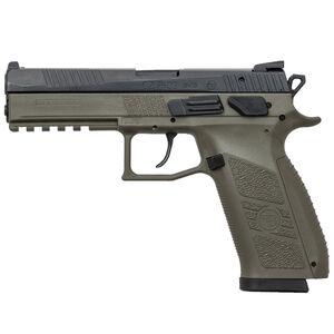 "CZ P-09 Full Size Semi Auto Pistol 9mm Luger 4.54"" Barrel 19 Rounds Magazine Fixed Tritium Night Sights Omega DA/SA Trigger Polymer Frame OD Green Finish"