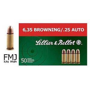 Sellier & Bellot .25 ACP Ammunition 2000 Rounds FMJ 50 Grains SB25A