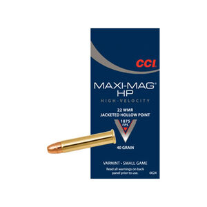 CCI Maxi-Mag .22 WMR Ammunition 2,000 Rounds JHP 40 Grains 1,875 Feet Per Second