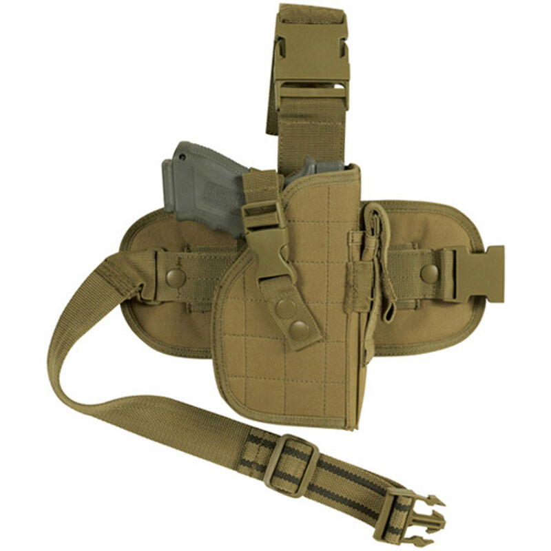 Fox Outdoor Mission Ready Drop Leg Holster Medium To Large Autos Right Hand Nylon Coyote Tan 58-088