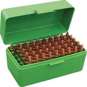 MTM Case-Gard R-50 Series Flip Top Rifle Ammo Box .17 Fireball/.223 Remington/.300 AAC Blackout Rifle 50 Rounds Green RS-50-10