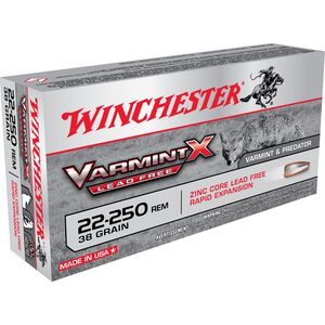 Winchester Varmint X .22-250 Remington Ammunition 200 Rounds Lead Free PT 38 Grains X22250PLF