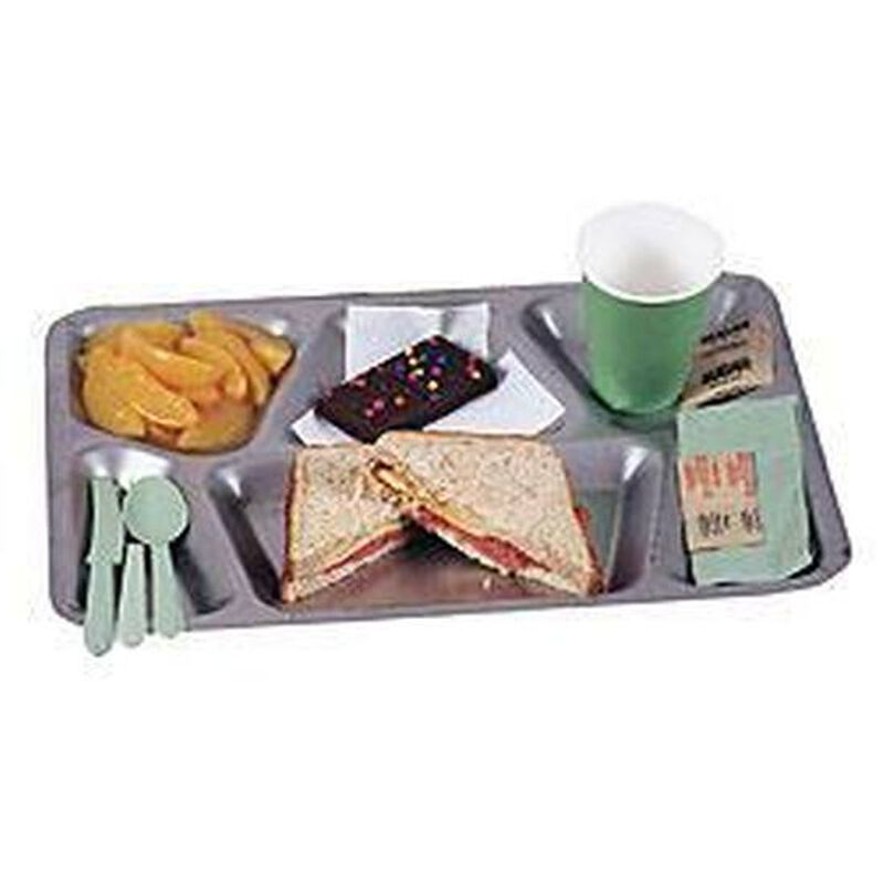 Original U.S. Military Six Compartment Mess Trays Heavy Stainless Steel NSN; 7350-00-195-7334