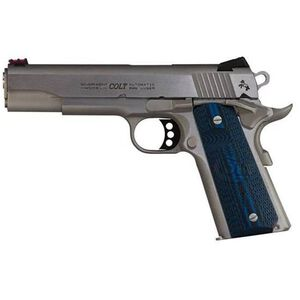 "Colt Competition 1911 Series 70 Government Model Semi Auto Pistol .45 ACP 5"" Barrel 8 Rounds Fiber Front Sight Novak Rear Sight G10 Grips Stainless Steel Finish"