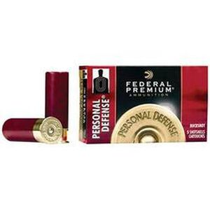 "Federal Personal Defense 20 Gauge Ammunition 5 Rounds 2.75"" 24 Pellets #4 Buck 1,100 Feet Per Second"