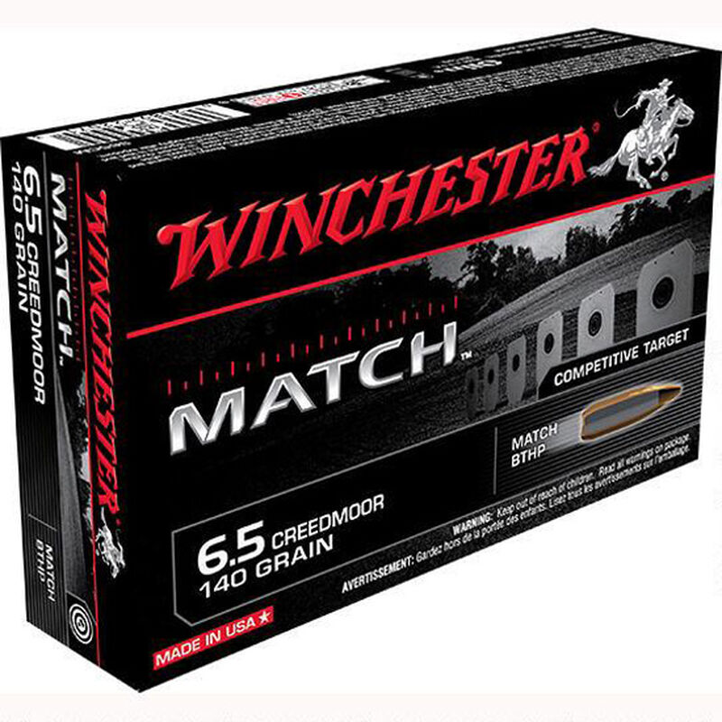 Winchester Match 6.5 Creed Ammunition 200 Rounds, BTHP, 140 Grains