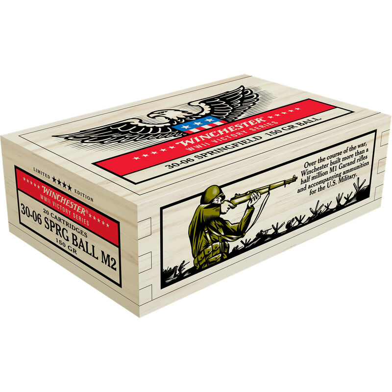 Winchester Victory Series .30-06 Springfield Ammunition 100 Rounds 150 Grain M2 Ball FMJ 2740fps M1 Garand WWII Collector Carton