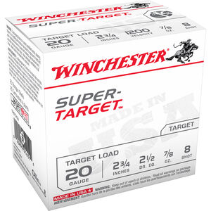 "Winchester Super-Target 20 Gauge Ammunition 25 Rounds 2.75"" #8 Lead Shot 7/8 Ounce TRGT208"