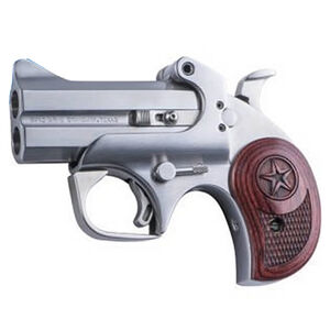 """Bond Arms Texas Defender .45 Long Colt/.410 Bore Break Action Derringer 3"""" Barrels 2 Rounds Front Blade/Fixed Rear Sights Standard Grip Rosewood Stainless Steel Finish"""