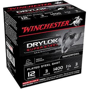 """Winchester Drylok Super Steel 12 Gauge Ammunition 25 Round Box 3"""" #3 Plated Steel Shot 1-1/4 oz 1400 fps"""