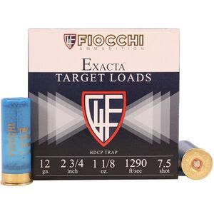"""Fiocchi Exacta Trap HDCP Load 12 Gauge Ammunition 25 Rounds 2-3/4"""" #7.5 Lead 1-1/8oz 1290fps"""