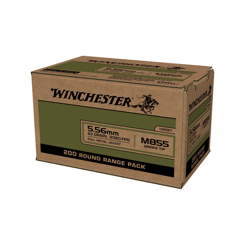 Lake City by Winchester  M855 5.56 NATO Ammunition 200 Rounds SS109 Green Tip FMJ 62 Grains  WM855200