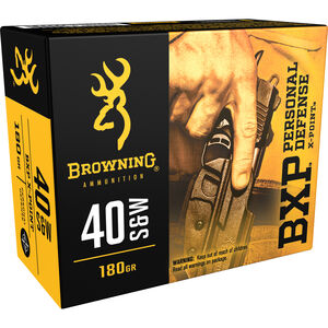 Browning BXP Personal Defense .40 S&W Ammunition JHP 180 Grains B191700401