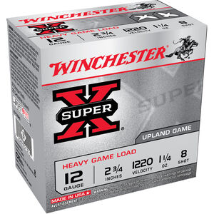 "Winchester Super-X Heavy Game Load 12 Gauge Ammunition 25 Round Box 2-3/4"" #8 Lead 1-1/4 oz 1220 fps"