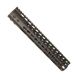 "Guntec 12"" Ultra Lightweight Thin KeyMod Free Floating Handguard with Monolithic Top Rail LR-308 DPMS Low Profile 12.9 oz. Aluminum Body Steel Barrel Nut Black"