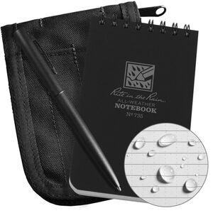 "Rite in the Rain All-Weather Notebook Kit 3"" x 5"" Waterproof Polydura Black"