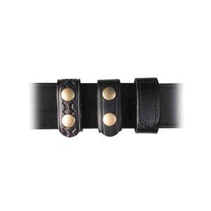 "Boston Leather Double Snap Belt Keeper 1"" Hi Gloss Brass Snaps 5492-2"